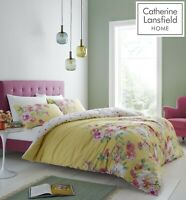Catherine Lansfield Lille Floral Easy Care Quilt/Duvet Cover Bedding Set Yellow