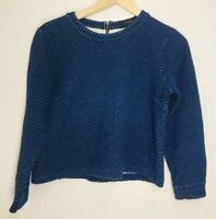EUC J. Crew Women's Size Small Quilted Sweatshirt Blue Zipper Back Crop Top