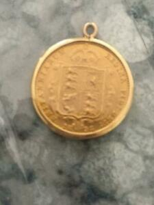 1892 Half Gold Sovereign in pendant