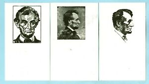 3 Vintage, Profile and Face Head Shots of 16th President Abraham Lincoln....