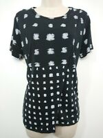 Whistles Black & White Jersey Top Size 12 Open Double Layered Front