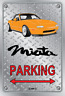 Parking Sign Metal Mazda MX5 Orange Enki - Checkerplate Look