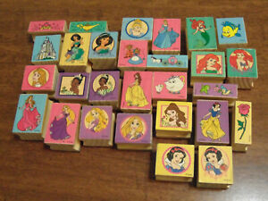 Lot Of 28 Disney Princess Wood Mounted Rubber Stamps Used Cinderella Beauty More