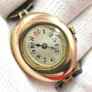 1930'S - 18K 750 GOLD PLATED - 26 MM x  31 MM - MECHANIC - ANTIQUE