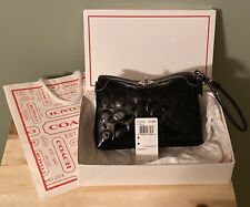 Women's Authentic COACH Black Patent Embossed Leather Wristlet