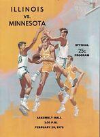 University of Illinois vs Minnesota Gophers 1970 College Basketball program