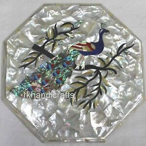 15 Inches Peacock Pattern Inlay Marble Table Top Exclusive Look Coffee Table Top