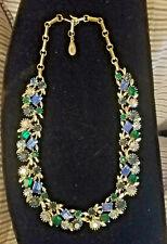 Vintage LISNER Signed Necklace Emerald Green Sapphire Blue Topaz Rhinestones