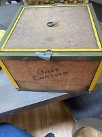 Vintage Oberlin Bait Canteen Fishing Worm Night Crawler Crib Box Fill Cork Metal