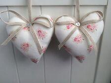 Paire de pivoine et sage Coeur Porte Cintres en petites fleurs Rasperry & Clay tissu de lin