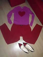 CLEMENTS RIBEIRO 100% Pure Cashmere Jumper Pink Red Heart ❤️ Size S 8 / 10