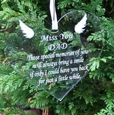 Miss You Dad Engraved Clear Heart Acrylic Memorial Plaque Reminder Memory