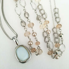 Set of 2 Ann Taylor LOFT Necklaces New Silver Long Pendant Beaded Chain