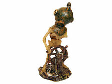 Skeleton with Divers Helmet at Ships Wheel Aquarium Ornament Decoration