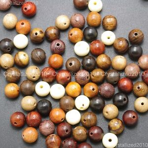 Natural Colorful Mixed Wood Round Ball Beads 6mm 8mm 18mm 20mm Healing Bracelet