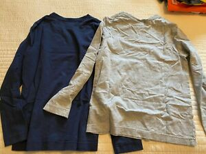 Lot of 2 Hanna Andersson Boys Solid Long Sleeve TShirts Sz 130