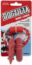 Petmate Dogszilla Toy for Dog Dino Links Rubber with Rope 8 inch Rings Small red