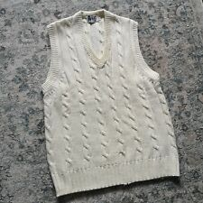 Cream GUNN & MOORE Sleeveless Cricket Jumper / Sweater | Cable Knit Vest | Large