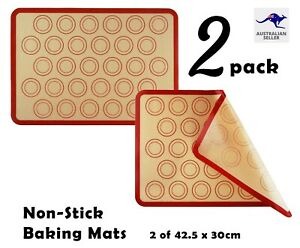 2X Silicone Cookie Biscuit Baking Mats Non-Stick Reusable Oven Tray Liners