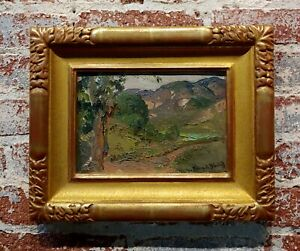 Franz Bischoff -View of Los Angeles Green Valley -c.1905 California Oil painting