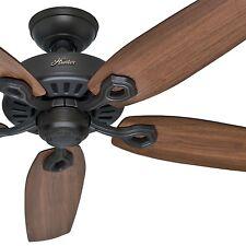 "Hunter 52"" New Bronze Ceiling Fan; 5 Reversible Brown Wood Blades"