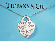 Tiffany & Co I LOVE YOU Medium Charm Sterling Silver NOTES Pendant Necklace