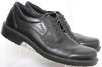 ECCO Oxford 4 Eye Plain Toe Black Leather Dress Tie Shoe Mens US 12 EU 45