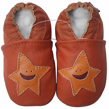 carozoo starfish orange 4-5y soft sole leather kid shoes