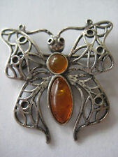 VINTAGE STERLING BALTIC AMBER PIN BROOCH 1950 BUTTERFLY