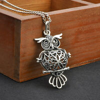 Owl Locket Necklace for Perfume Fragrance Diffuser Essential Oil Aromatherapy #p