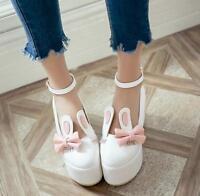Women's Bowknot Cute Sweet Lolita Strappy Princess Pumps Platform Wedge Shoes
