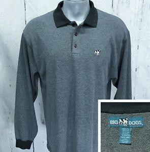 vtg Big Dogs Grey Flannel Polo Shirt size 2XL ~ 19607