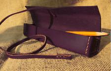 Cosmetic bag Makeup box write case pencil pen cow Leather Customize purple z207