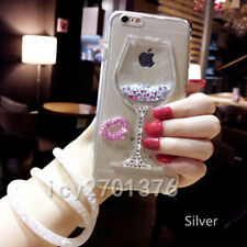 Bling Glitter Lip Quicksand goblet Soft Back Phone Dynamic Liquid Case & strap M