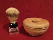 Vintage Sanax Pure Badger Shaving Brush and Turned Wood Shaving Bowl