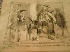 Caricature 1858 - Le Strict nécéssaire pour Chasse Pêche peinture etc...