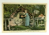 Gaspe Quebec Canada Roadside Bake Oven Woman Vintage Postcard