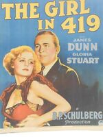 1933 Paramount Movie Poster Board The Girl In 419 James Dunn Gloria Stuart