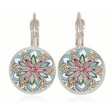 Vintage Retro Women Glass Round Flower Ear Stud Fashion Bronze Earrings Jewelry