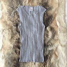 CHANEL Grey Cotton Knitted Sleeveless Top FR 42 UK 12 14