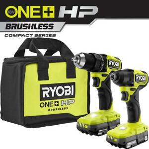 RYOBI ONE+ HP 18V Brushless Cordless Compact 1/2 in. Drill and Impact Driver Kit