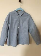 Bonpoint Gray/blue Check Button Up 100% Cotton Dress Soft Shirt Boys Size 6