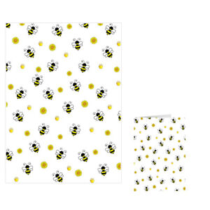 Unique High Quality Busy Bee Gift Wrap Pack, A3 Paper & A6 Card GP269