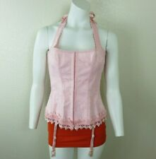 Fredericks of Hollywood Size 38 Pink Dream Corset Lace Up Bustier Halter Tie