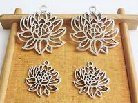 10 x Tibetan Silver Open Flower Filigree Charms Pendants Beads Jewellery Making