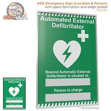 AED Location Poster A2 A3 A4 (anti-glare lamination & edge sealed)