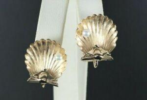 $1,650 Vintage 14K Yellow Gold 3.5mm Cultured Pearl Seashell Screw Back Earrings