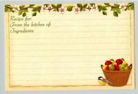 12 Deluxe Longaberger Basket w Apples Blossoms Bird 4 x 6 Recipe Cards n zip bag