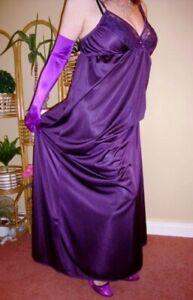Bold Purple Silky Lacy Long Formal Length Bra Slip or Nightgown L-XXL BNWT