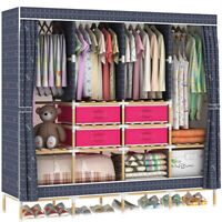 Huge Wooden Portable Closet 4 Rods Bedroom Wardrobe Storage+Free 4 Storage Boxes